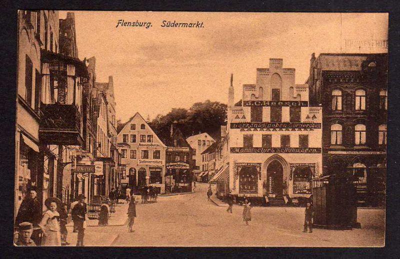 Ansichtskarte Flensburg Südermarkt Geschäftshaus Heesch um 1920