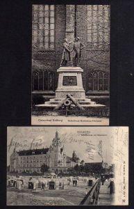 2 Ansichtskarte Kolobrzeg Kolberg 1905 Nettelbeck Gneisenau Denkmal Strandschloss Bah