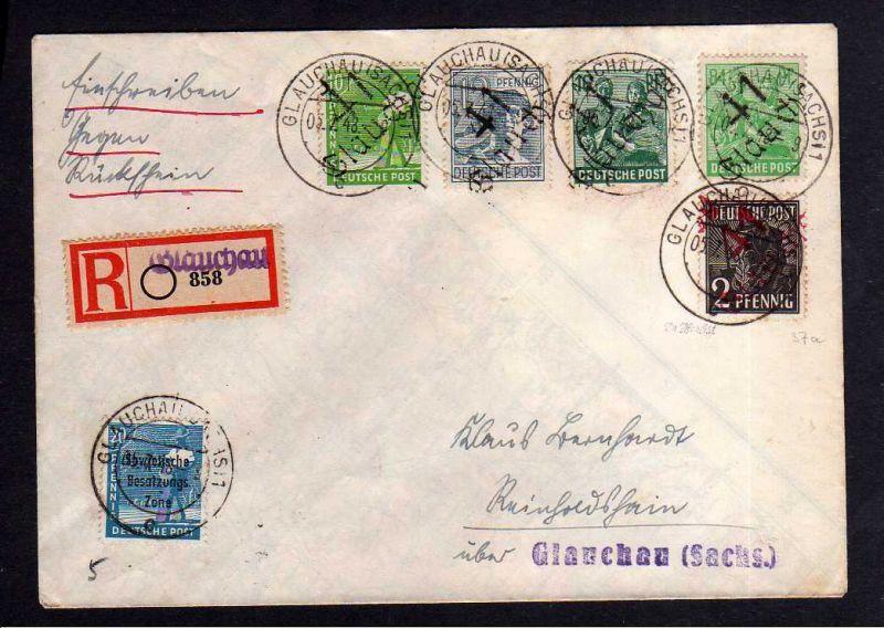 h376 Brief Handstempel Bezirk 41 Glauchau 5.7.48 Einschreiben gegen Rückschein N