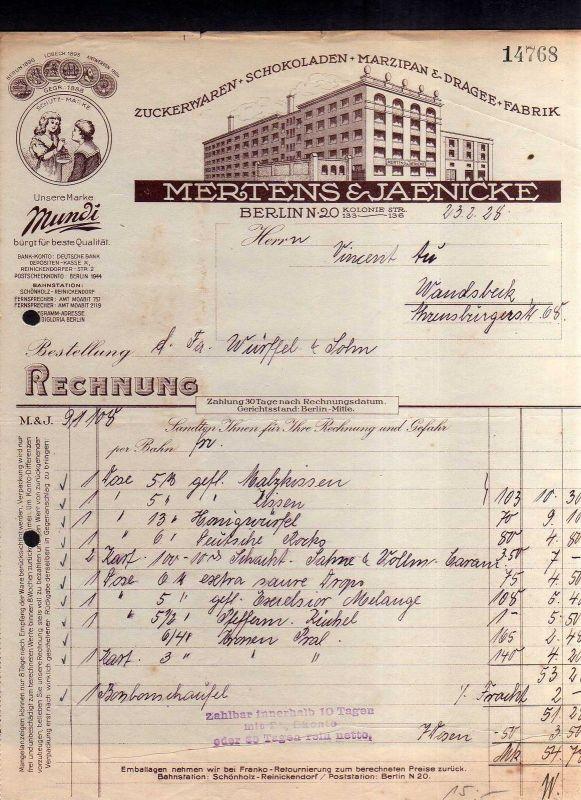 v503 Briefbogen Firmenrechnung Berlin Fabrik Mertens & Jaenicke Zuckerwaren Scho