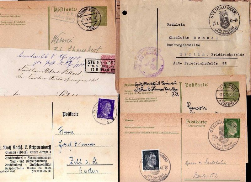 v134  Steinau Oder Brief 1880 GS 1933 Landpoststempel Sonderstempel 1942 portofr