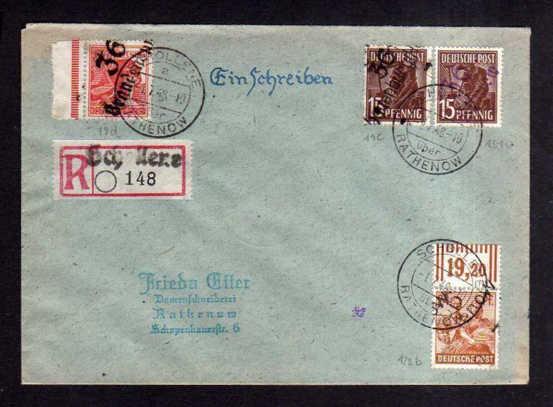 h1679 Handstempel Bezirk 36 Rhinow 15 Pfg. violett + 15 Pfg. Brandenburg Brief