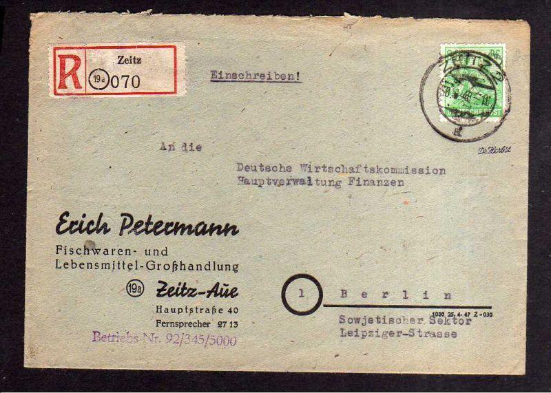h809 Brief Handstempel Bezirk 20 Zeitz 30.6.48 Einschreiben an Deutsche Wirtscha