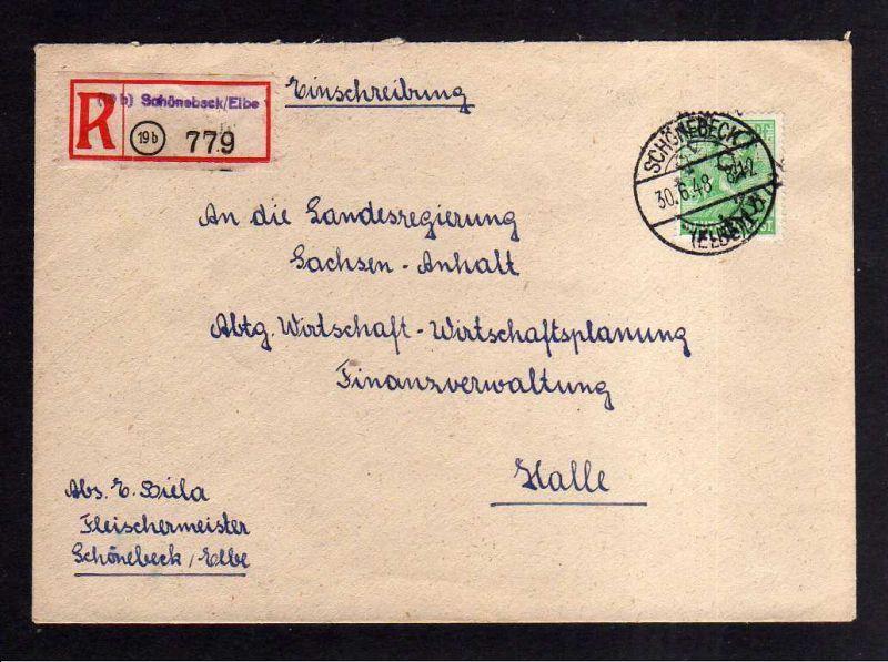h1789 Handstempel Bezirk 29 Schönebeck 84 Pfg. Einschreiben gepr. Modry BPP Beda