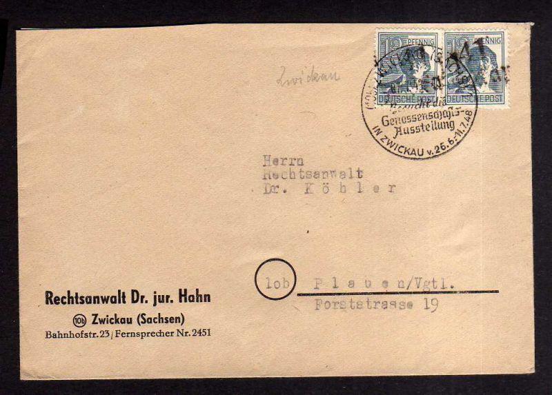 h1319 Brief Handstempel Bezirk 41 Zwickau 7.7.48 Rechtsanwalt SST Genossenschaft