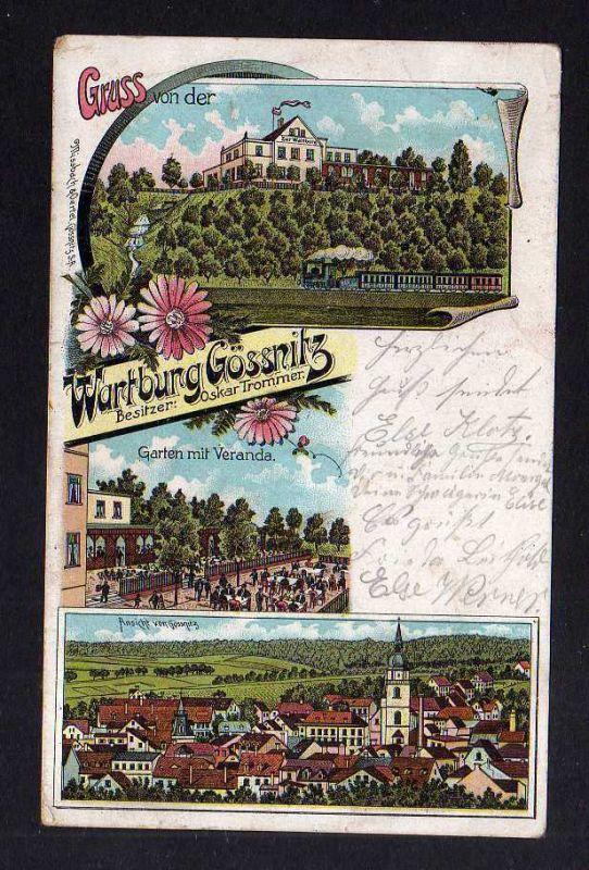 Ansichtskarte Gruss von der Wartburg Gössnitz 1905 Litho Restaurant Gaststätte