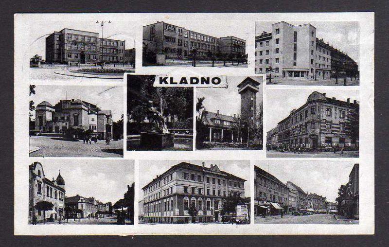 Ansichtskarte Kladno 1943 10 Ansichten Häuser Straßen Feuerwehr Schlauchturm ?