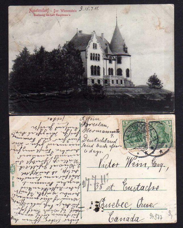 Ansichtskarte Jagniatkow Agnetendorf 1911 Der Wiesenstein Villa Gerhardt Hauptmann