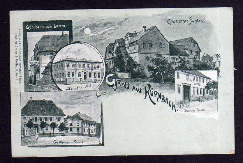 Ansichtskarte Kürnbach Schule Gasthaus zur Sonne 1922 Brauerei Gabler zum Lamm