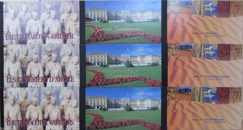 UNO Genf New York Wien MH Markenheftchen 1997 1998 1999 Welterbe ** postfrisch