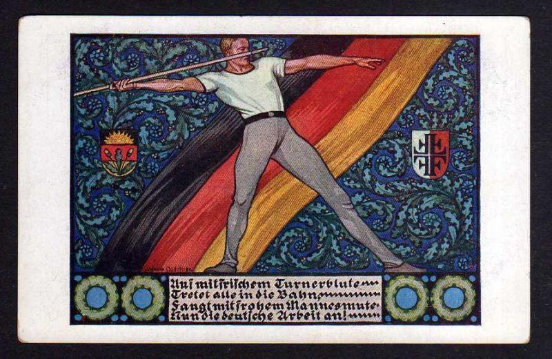 Ansichtskarte Sport Turnen Turnerblut Speerwerfer Dt. Schulverein um 1920