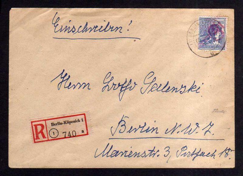 h1931 Handstempel Bezirk 3 Berlin Köpenick 8.7.48 Einschreiben gepr. Dr. Kalb BP