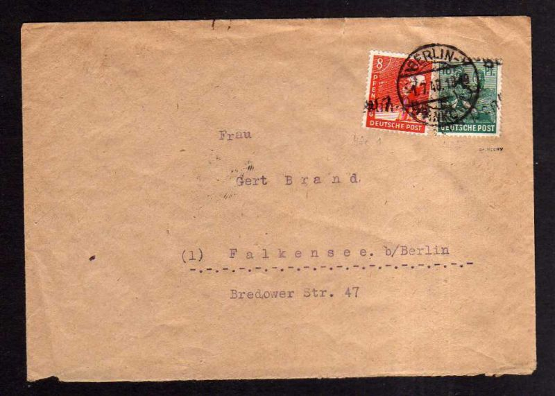 h1938 Handstempel Bezirk 3 Berlin Pankow Brief gepr. Dr. Kalb BPP Bedarf 1.7.48