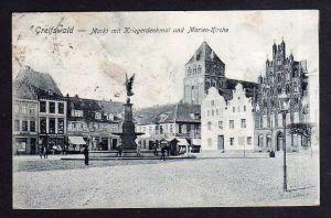 Ansichtskarte Greifswald 1909 Markt mit kriegerdenkmal Marien Kirche