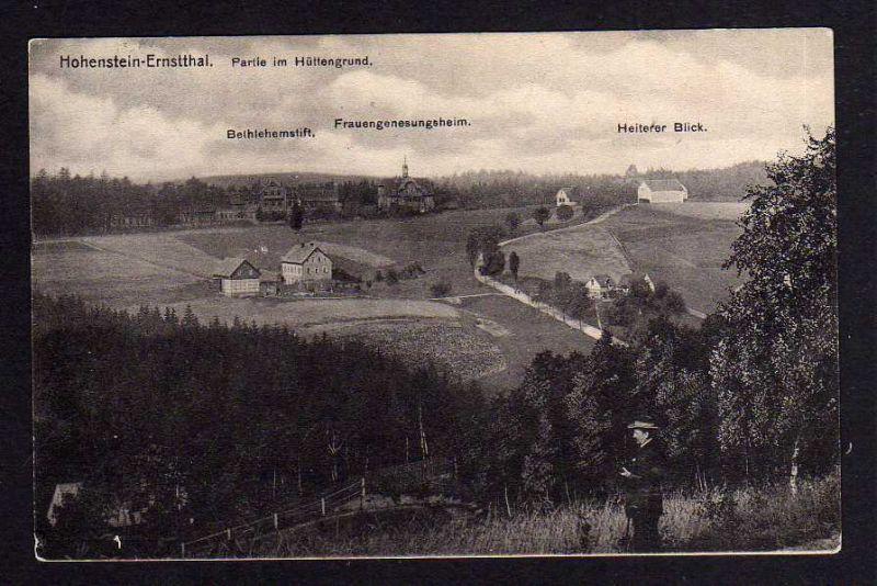 Ansichtskarte Hohenstein-Ernstthal Hüttengrund Bethlehemstift Heiterer Blick 1913