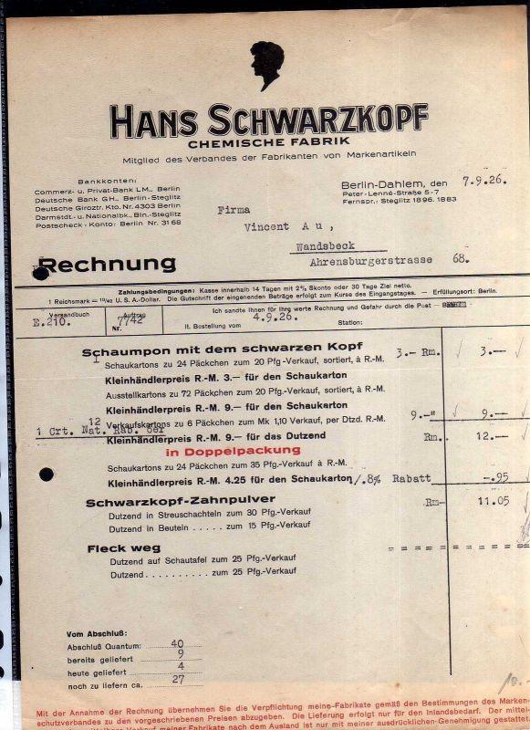 v505 2 Briefbogen Firmenrechnung Berlin Dahlem 1926 Schwarzkopf Chem. Fabrik