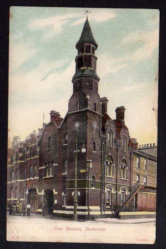 Ansichtskarte Battersea London Fire Station Feuerwehr 1907 Borough of Wandsworth