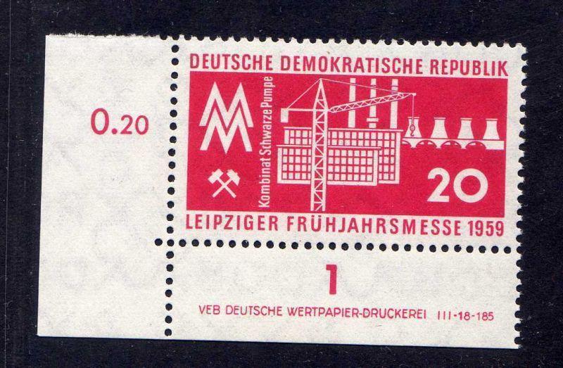 DDR 1959 678 DV Druckvermerk ** links ndgz. Leipziger Frühjahrsmesse
