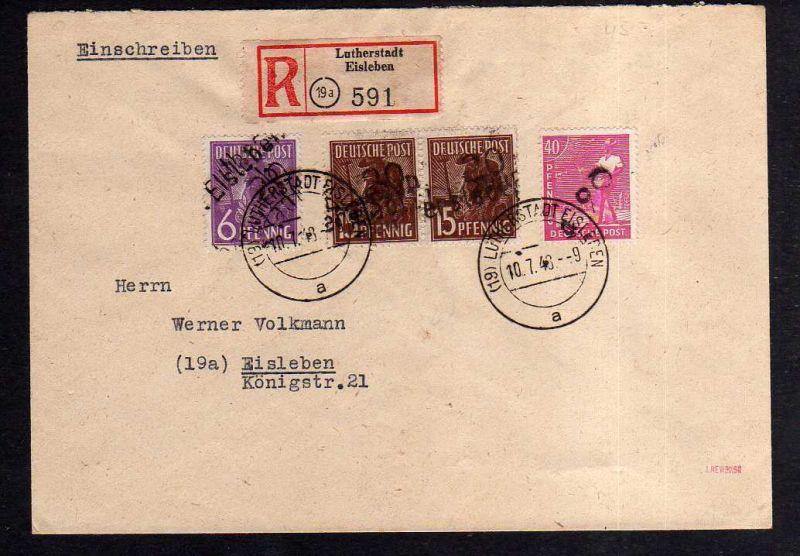 h1824 Handstempel Bezirk Lutherstadt Eisleben Brief Einschreiben 10.7.48.gepr. D