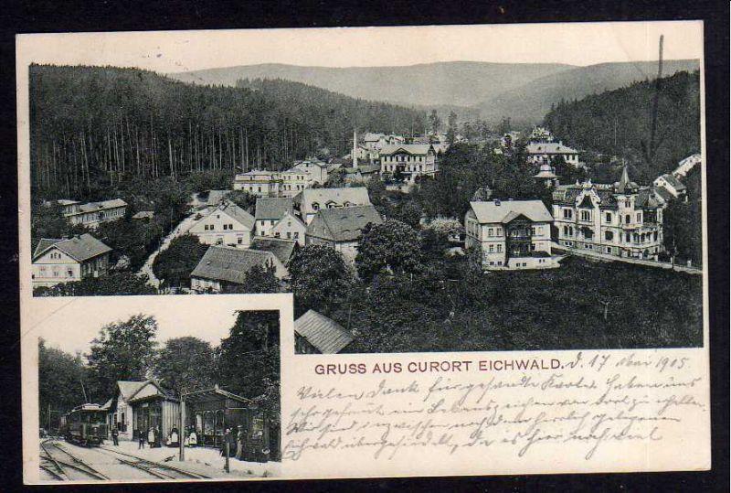 Ansichtskarte Eichwald Dubi bei Teplitz 1905 Bahnhof elektrische Bahn Oberleitung