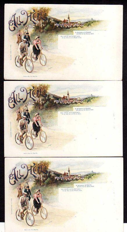 3 Ansichtskarte All Heil Fahrrad Wien um 1900