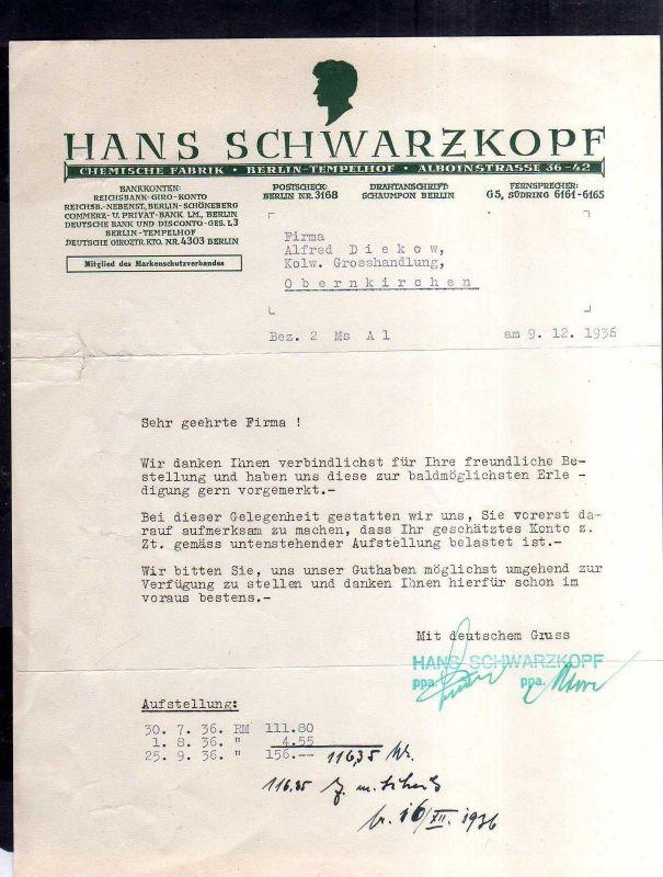 v523 Briefbogen Firmenrechnung Berlin Tempelhof 1936 Schwarzkopf Chem. Fabrik