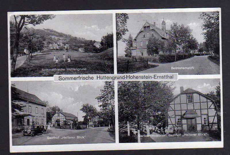 Ansichtskarte Hohenstein-Ernstthal 1934 Hüttengrund Restaurant Gasthof Heiterer Blick