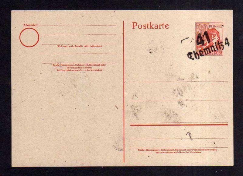 h1667 Handstempel Bezirk 41 Chemnitz 4 Ganzsache AS 30 ungebraucht gepr. Dr. Kal