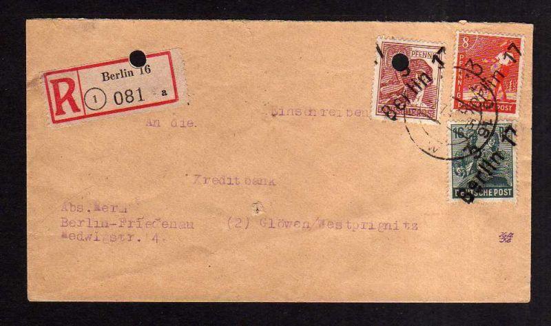 h1898 Handstempel Bezirk 3 Berlin 17 Einschreiben 1.7.48 nach Glöwen gepr.