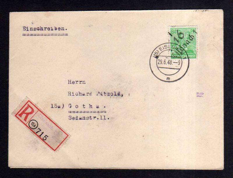 h1622 Handstempel Bezirk 16 Eisenach 84 Pfg. Einschreiben 29.6.48 nach Gotha gep