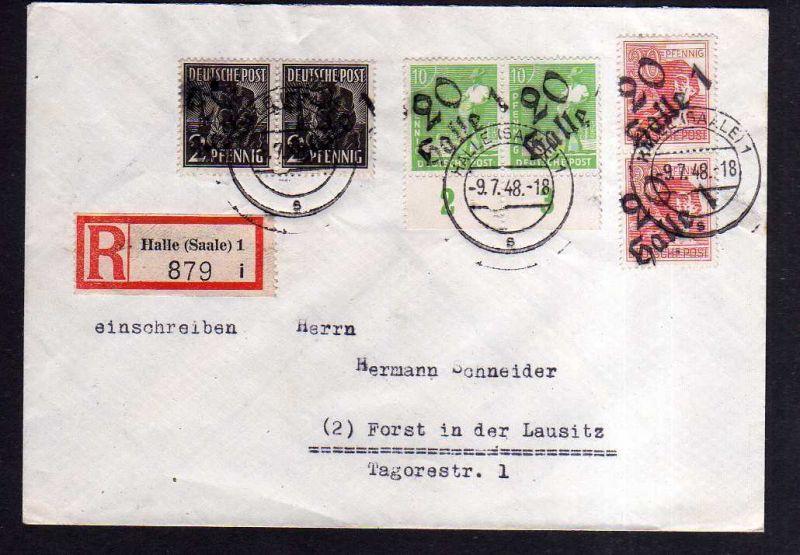 h1842 Handstempel Bezirk 20 Halle Brief Einschreiben 9.7.48 nach Forst Lausitz