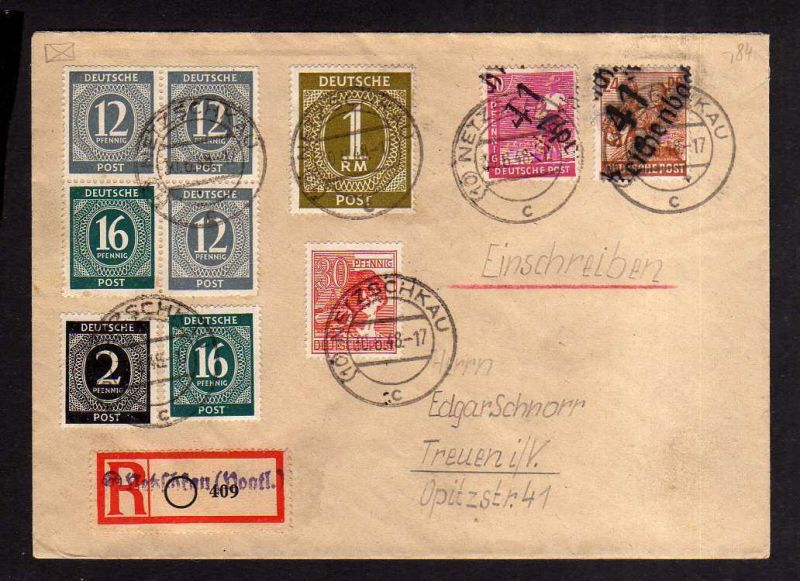 h2010 Handstempel Bezirk 41 Reichenbach 30.6.48 Einschreiben Netzschkau gepr. Mo