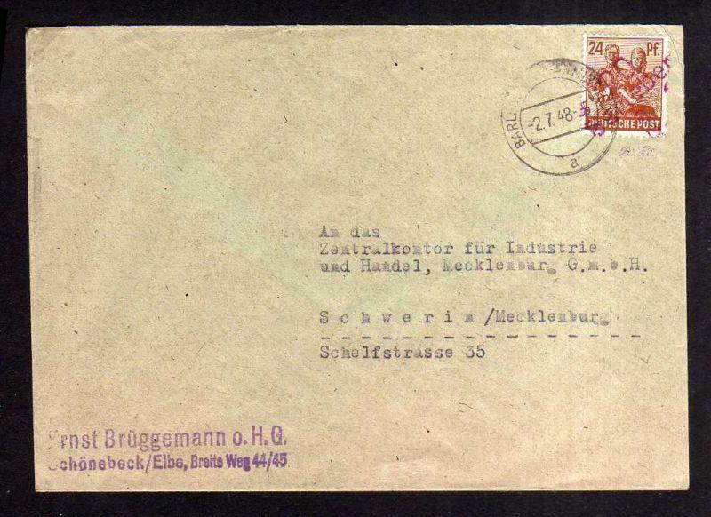 h1649 Handstempel Bezirk 20 Barleben rot 24 Pfg. Firmenbedarf gepr. BPP