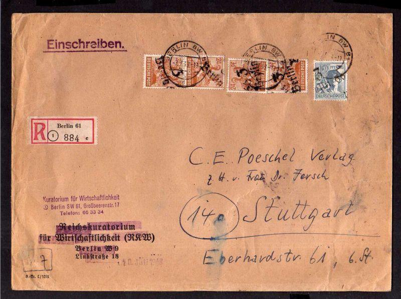 h1917 Handstempel Bezirk 3 Berlin 66 7.7.48 4x 24 + 12 Pfg. Einschreiben Kurator