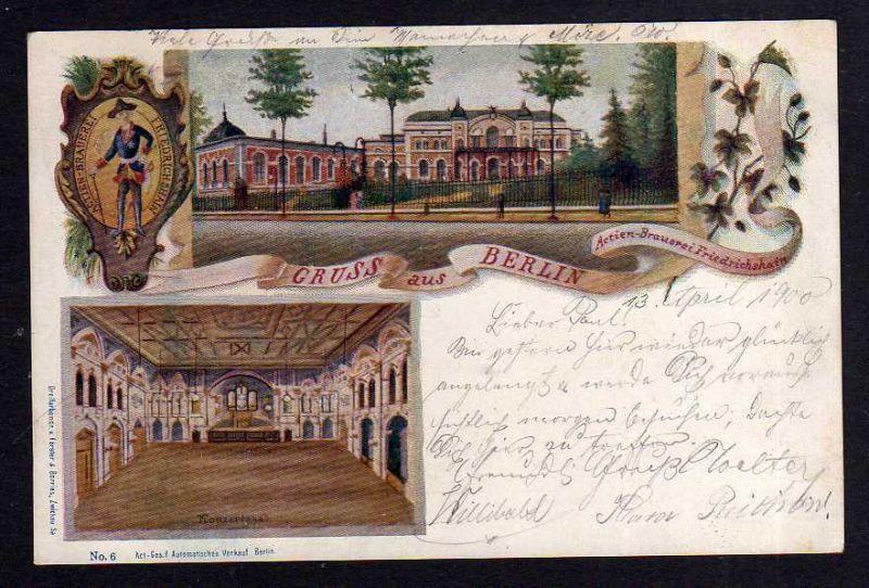 Ansichtskarte Berlin 1900 Actien Brauerei Friedrichshain Privatganzsache PP 9 F7 / 05