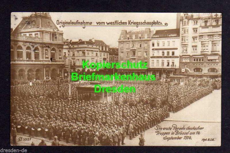 Ansichtskarte Brüssel 1914 Erste Parade deutscher Truppen Fotokarte Hotel Monico Gra