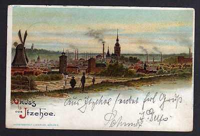Ansichtskarte Itzehoe Windmühle Mole 1898
