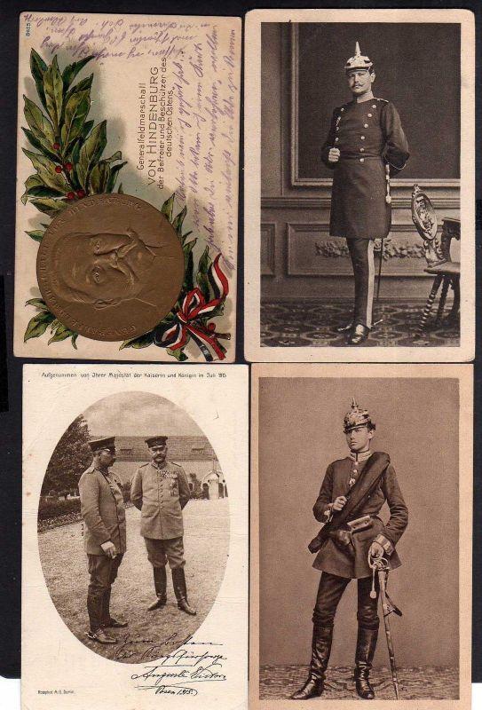 4 Ansichtskarte Reichspräsident Hindenburg als Leutnant 1866 geprägt 1915 Generalfeld