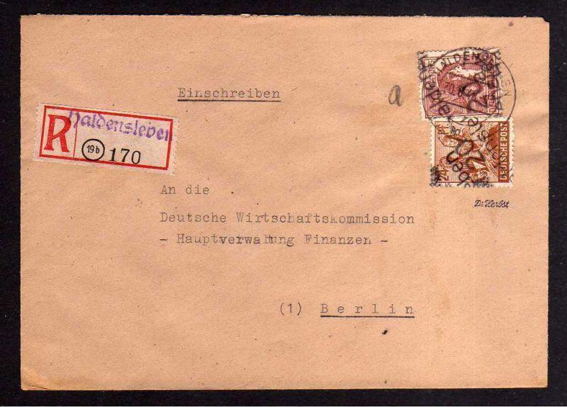 h712 Brief Handstempel Bezirk 20 Haldensleben 30.6.48 Einschreiben an Deutsche W