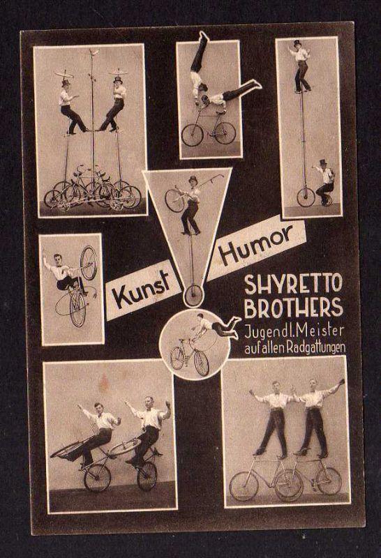 Ansichtskarte Fahrrad Kunstfahrer Kunst Humor Shyretto Brothers Zirkus 1931