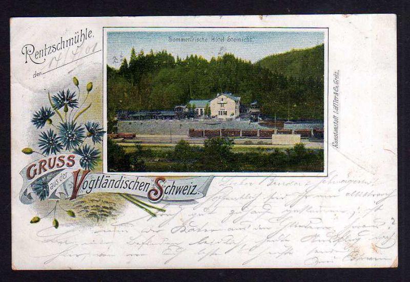 Ansichtskarte Litho Vogtländische Schweiz Sommerfrische Hotel Steinicht Bahnhof 1901