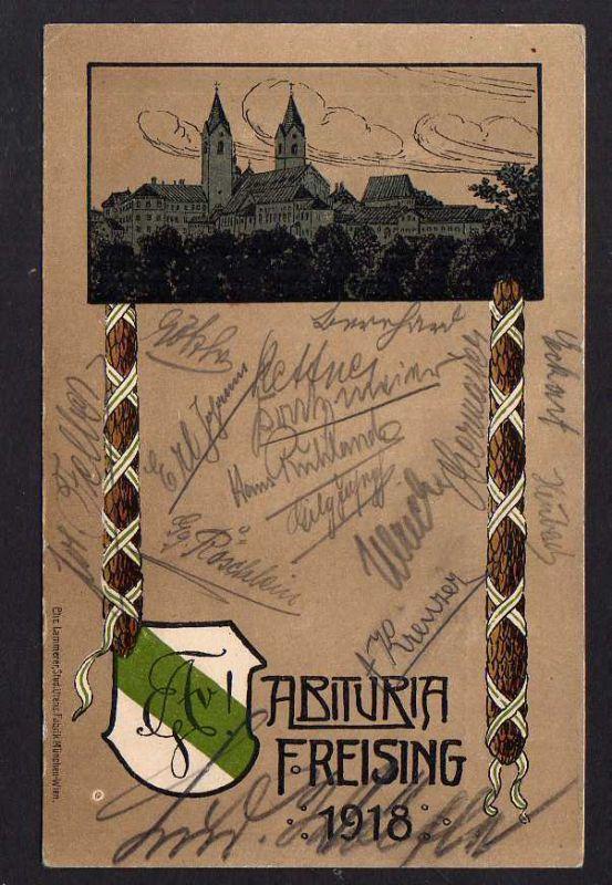 Ansichtskarte Studentika Abituria Freising 1918 viele Unterschriften