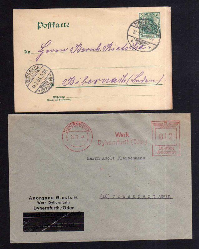 v133 Dyhernfurth Schlesien 1903 GS + Brief Anorgana GmbH 1944 Firmenfreistempel