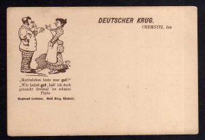 Ansichtskarte Deutscher Krug Chemnitz Jude Judaika um 1900 ´ne schaine Plaite