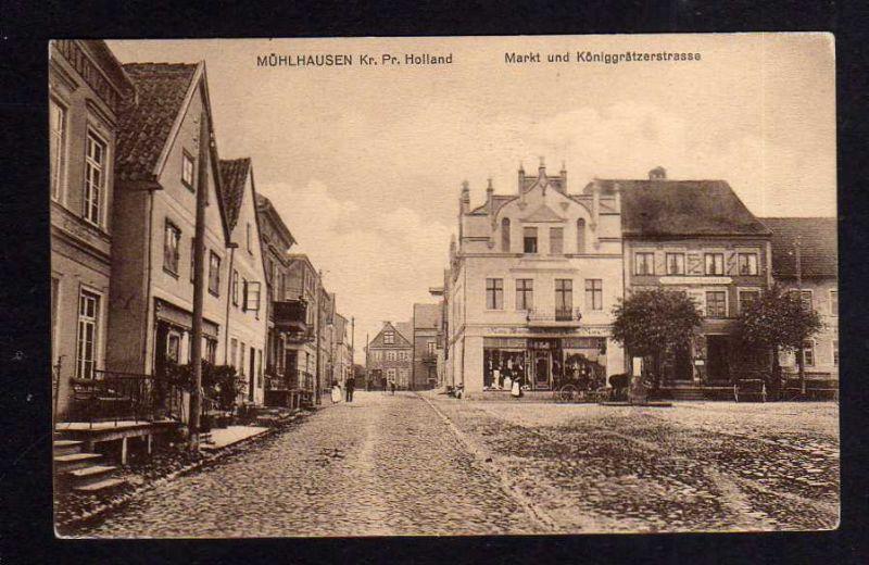 Ansichtskarte Mühlhausen Kr. Preußisch Holland Ostpreußen Markt ...