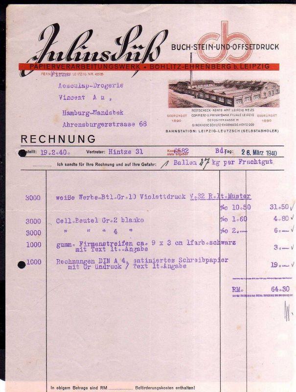 v529 Briefbogen Firmenrechnung Böhlitz Ehrenberg b. Leipzig Papierverarbeitungsw