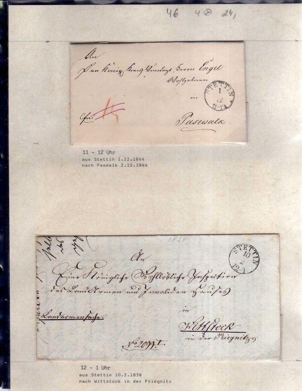 v046 aus Stettin Sammlung 4 Briefe 1838 - 1848 nach London PAID Pasewalk Wittsto