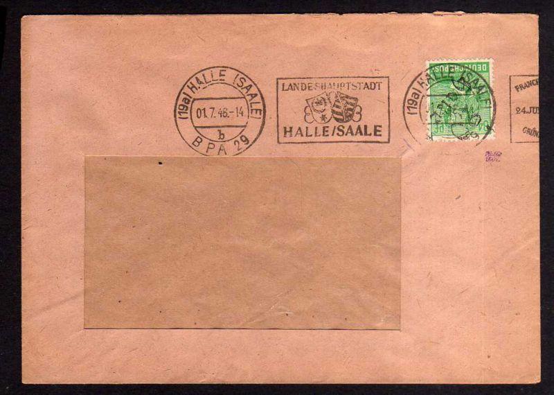 h833 Brief Handstempel Bezirk 20 Halle 1.7.48 Einschreiben gepr. BPP MOST Kakao-