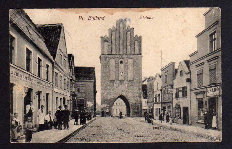 Ansichtskarte Preußisch Holland Ostpreußen 1912 Steintor Rasir Salon