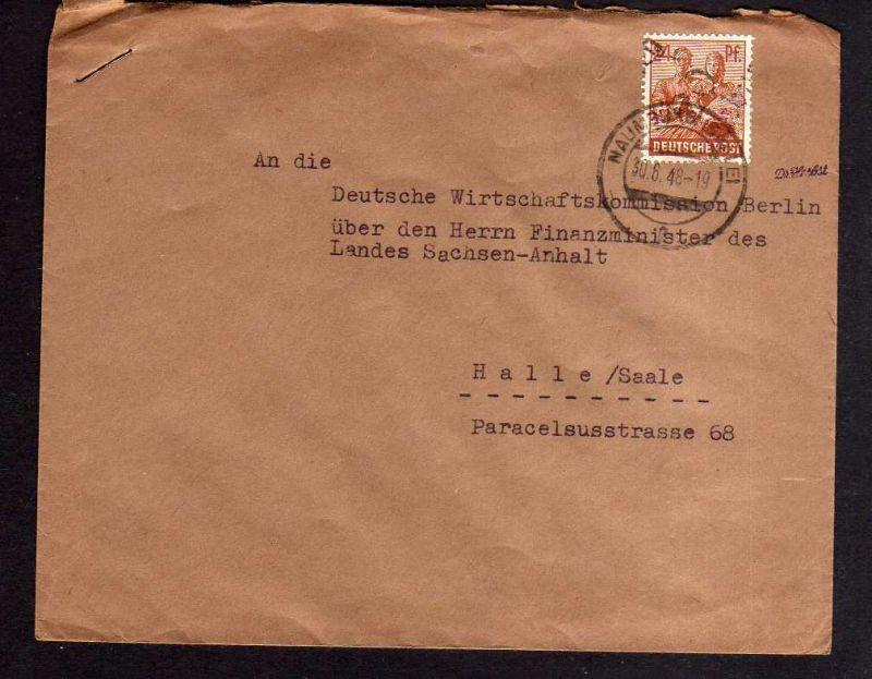 h742 Brief Handstempel Bezirk 20 Naumburg 30.6.48 Fernbrief an Deutsche Wirtscha